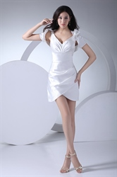 Stylish White V Neck Short Cocktail Dress With Side Drape And Jacket