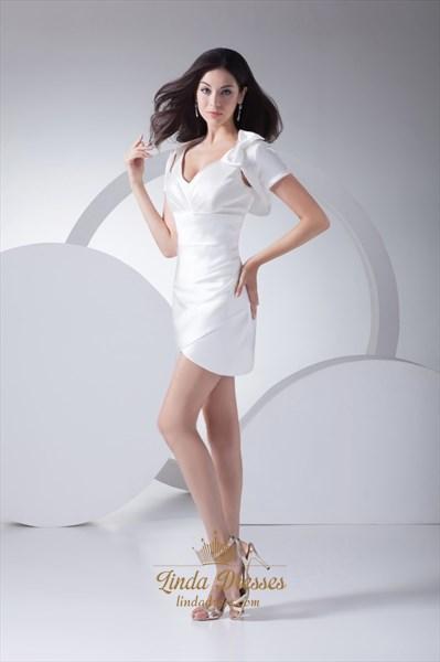 Stylish White V Neck Short Cocktail Dress With Side Drape And Jacket