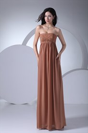 Coffee Strapless Prom Dresses Long Empire Waist Chiffon Pregnant Dress