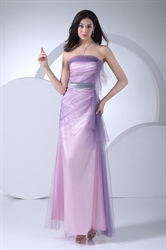 Long Pink And Purple Pleated Strapless Soft Net Prom Dresses With Belt