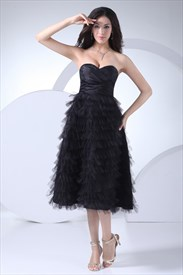Tiered Ruffle Short Cocktail Dresses Black Tea Length Homecoming Dress