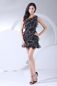 Black One Shoulder Homecoming Dress Organza Short Little Black Dresses