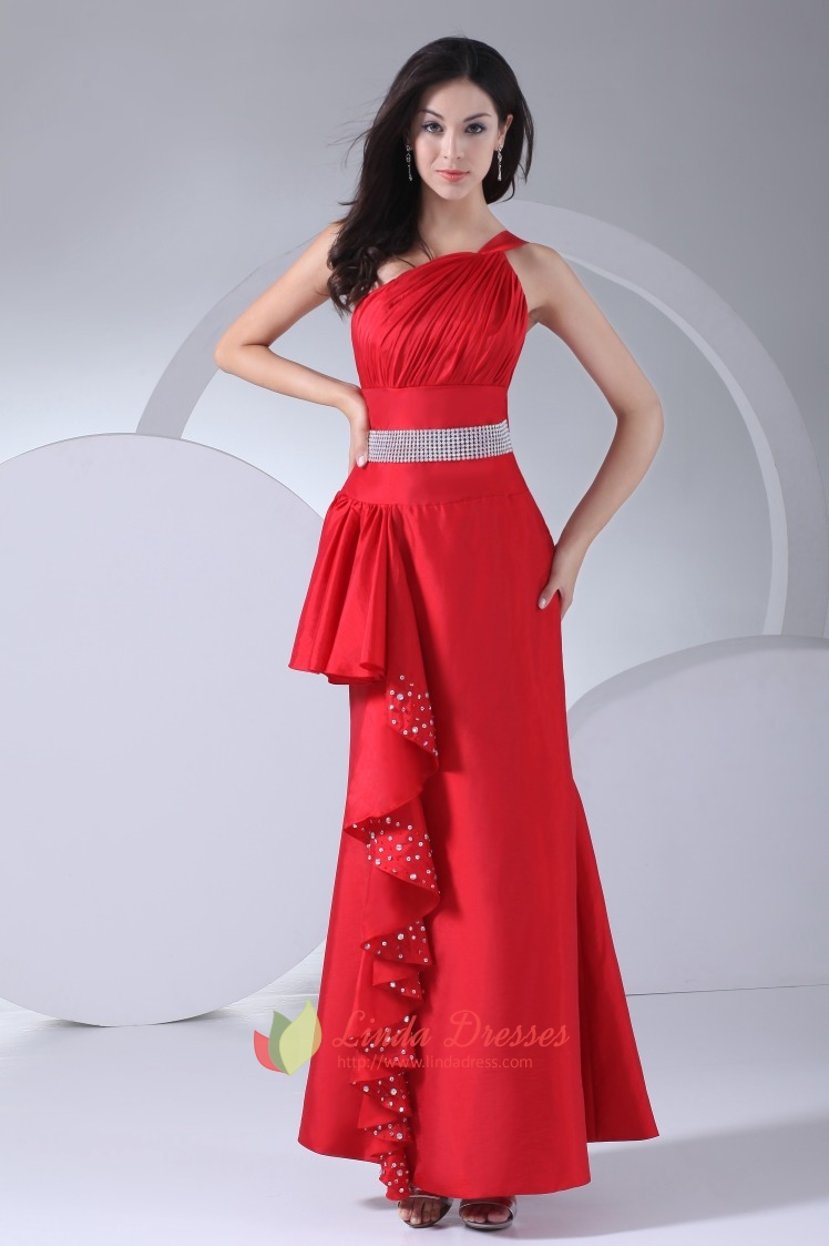 One Shoulder Ruffle Dress Taffeta Red Beaded Empire Waist