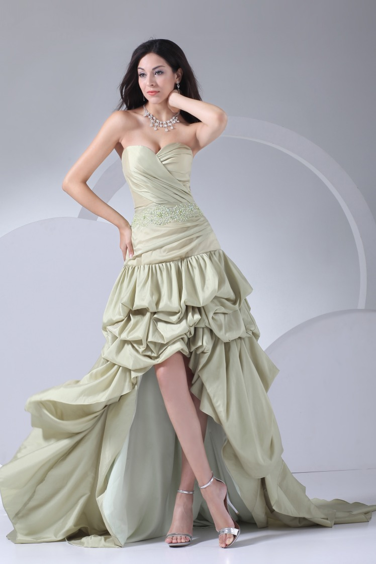 sweetheart pleated mint green gown dropped waist high low
