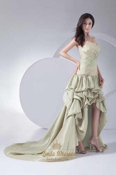 Sweetheart Pleated Mint Green Gown Dropped Waist High Low Prom Dresses