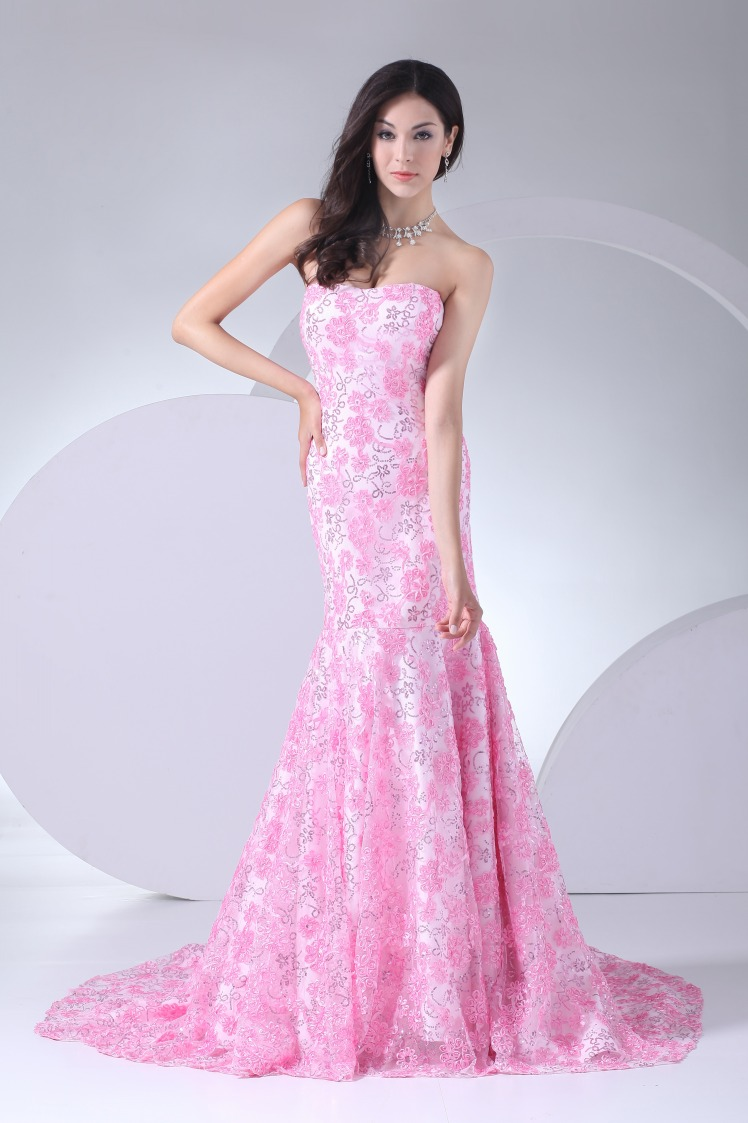 Floor Length Pink Strapless Prom Dresses Lace Mermaid Evening Dresses