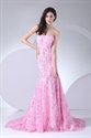 Show details for Floor Length Pink Strapless Prom Dresses Lace Mermaid Evening Dresses