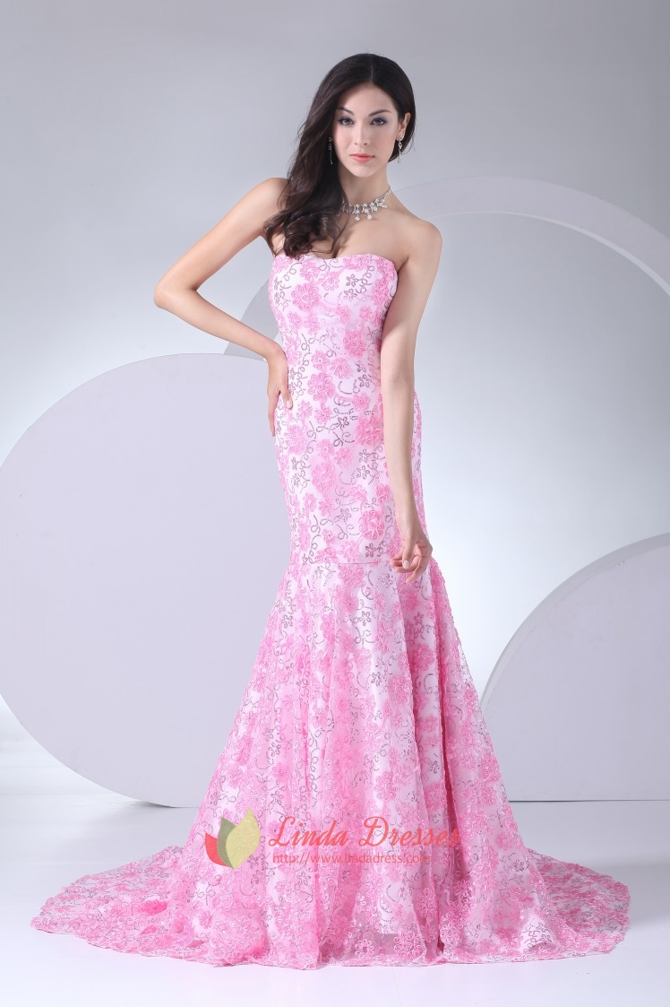 Floor Length Pink Strapless Prom Dresses Lace Mermaid Evening ...
