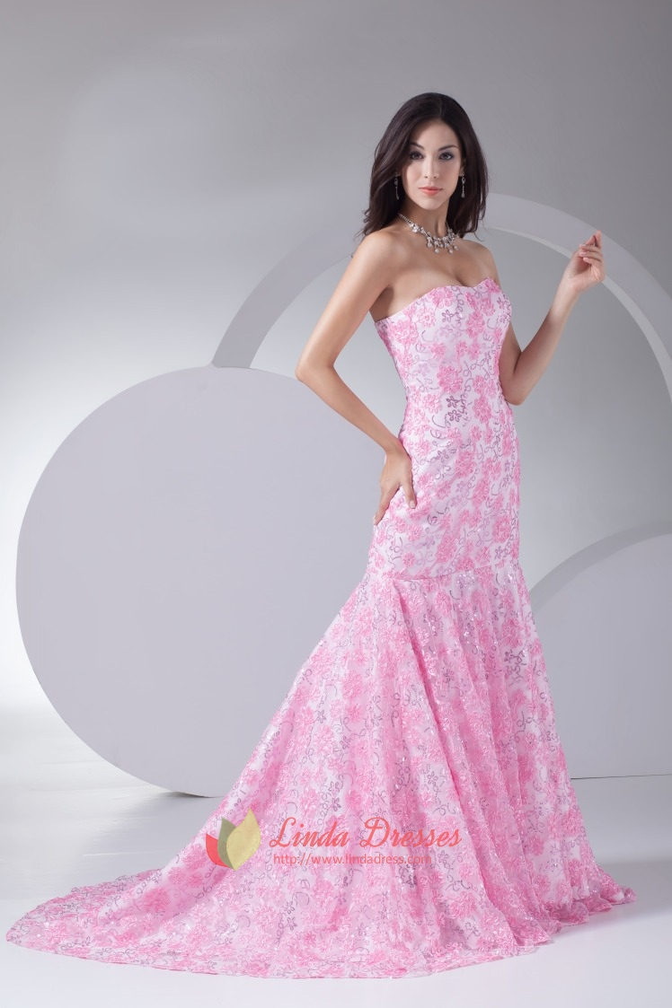 Floor Length Pink Strapless Prom Dresses Lace Mermaid