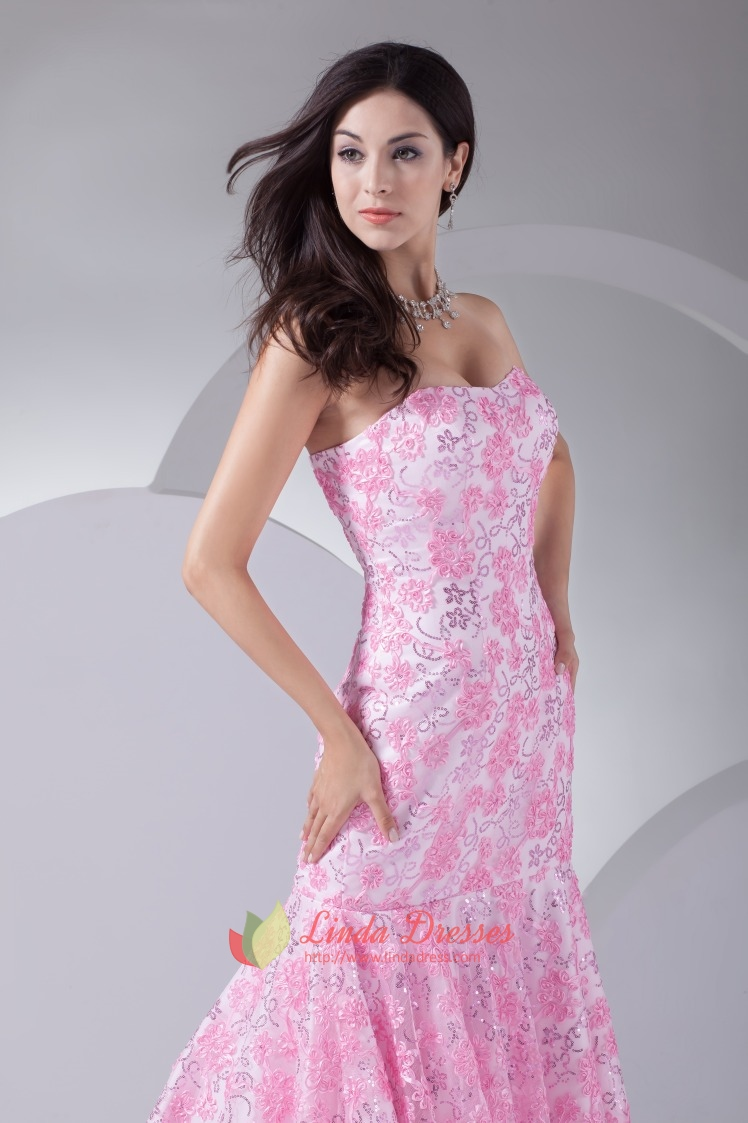 Floor Length Pink Strapless Prom Dresses Lace Mermaid ...
