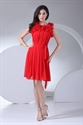 Show details for Ruffle Neck Cocktail Dress Knee Length Chiffon Red Homecoming Dresses