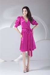 Sparkling Hot Pink Deep V Neck Knee Length Prom Dress With Long Sleeve