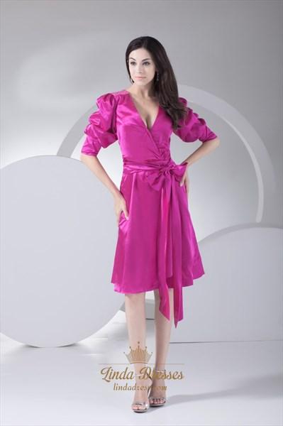 Sparkling Hot Pink Deep V Neck Knee Length Prom Dress With Long Sleeve