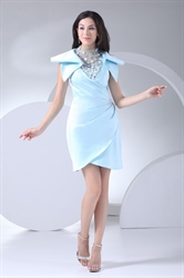 Radiant Light Blue V Neck Short Prom Dress Satin Drape Cocktail Dress