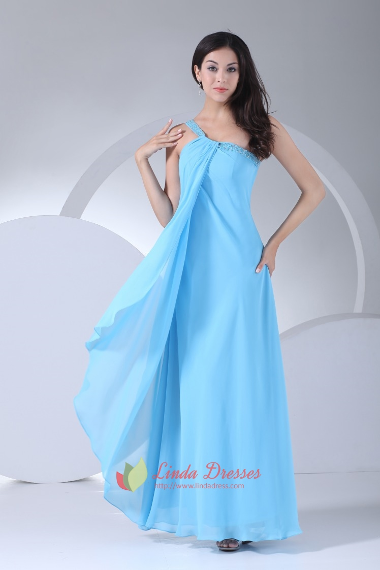 Aqua Blue Chiffon Prom Gown Floor Length One Shoulder Bridesmaid Dress