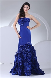 A Line Royal Blue Long Prom Dresses Strapless Ruffle Evening Dresses