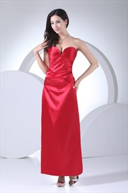 Long Red Strapless Formal Gowns Pleated Corset Lace Up Back Prom Dress