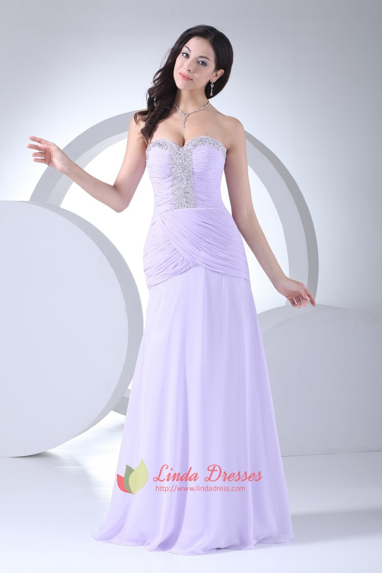 Lilac Beaded Sweetheart Pleated Side Drape Chiffon Long Evening ...