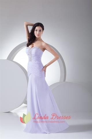 Lilac Beaded Sweetheart Pleated Side Drape Chiffon Long Evening Dress