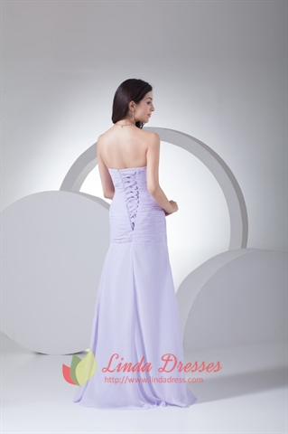 Lilac Beaded Sweetheart Pleated Side Drape Chiffon Long Evening Dress
