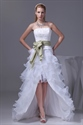 Show details for Strapless White Layered Wedding Dresses High Low Prom Dresses With Bow