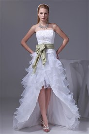 Strapless White Layered Wedding Dresses High Low Prom Dresses With Bow