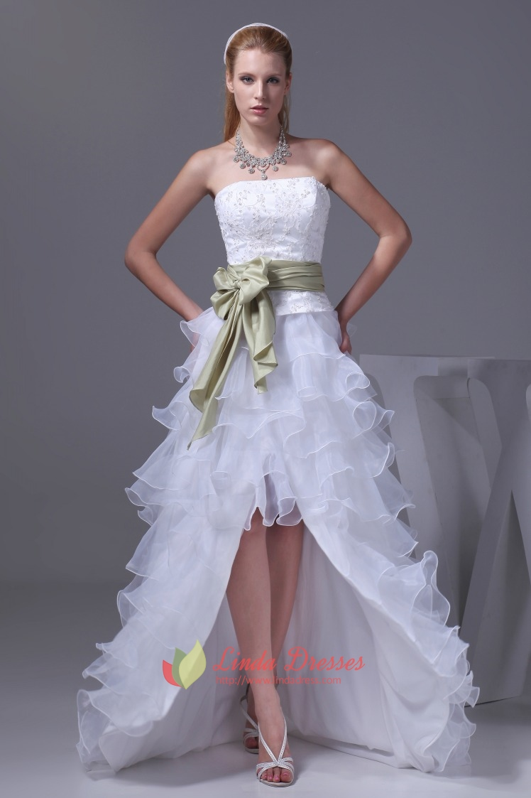 Strapless white layered wedding dresses high low prom for Wedding and evening dresses