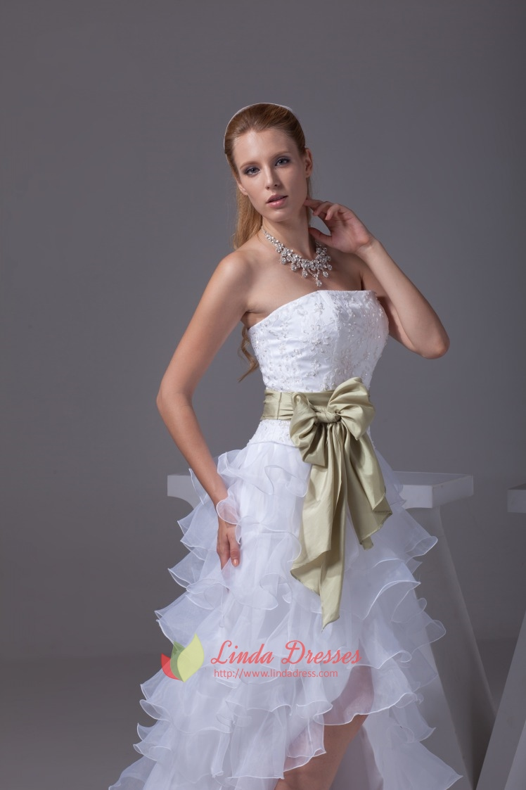 Strapless White Layered Wedding Dresses High Low Prom