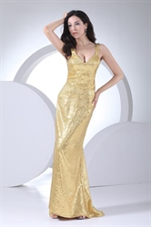 Floor Length V Neck Sequin Golden Dropped Waist Sheath Evening Dresses