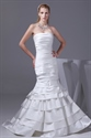 Show details for Mermaid Ruched Satin Wedding Dresses Long Strapless White Prom Dresses