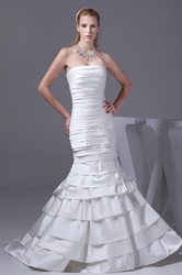 Mermaid Ruched Satin Wedding Dresses Long Strapless White Prom Dresses
