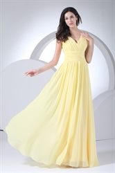 Yellow Chiffon Prom Gowns V Neck Empire Waist Pleated Bridesmaid Dress