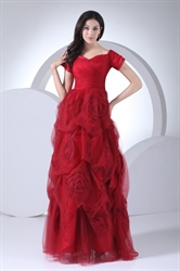 Soft Net Red Off The Shoulder Prom Dress With Flowers And Short Sleeve