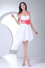 Watermelon And White Cocktail Dress Sweetheart Empire Waist Party Gown
