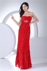Strapless Red Formal Gowns Ruffle Chiffon Empire Waist Evening Dresses
