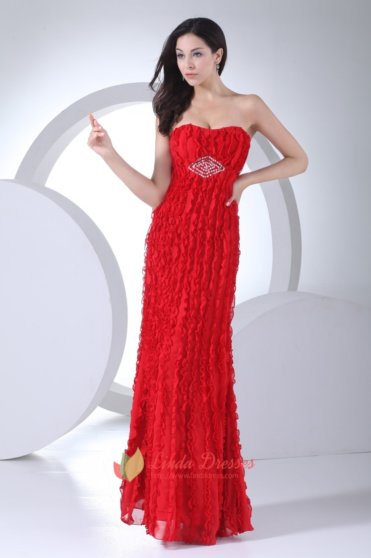 Strapless Red Formal Gowns Ruffle Chiffon Empire Waist Evening ...