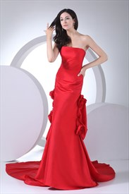 Taffeta Strapless Mermaid Red Long Evening Dress With Train And Flower
