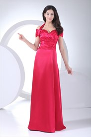 Halter Off The Shoulder Formal Gowns A-Line Empire Waist Prom Dresses