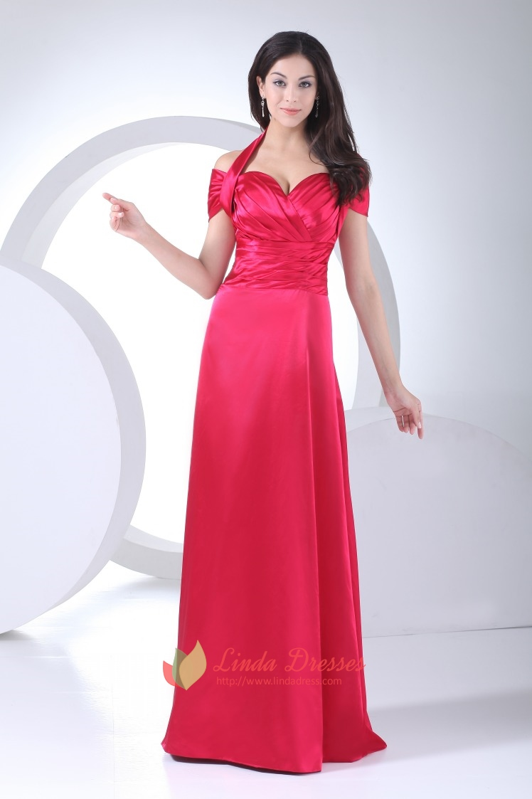 Halter Off The Shoulder Formal Gowns A-Line Empire Waist Prom ...