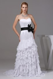 White Sweetheart Long Chiffon Ruffled Evening Dresses With Black Belt