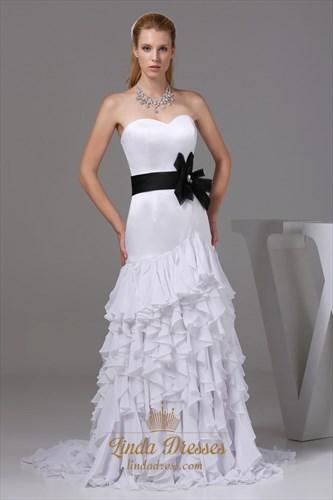 White Sweetheart Long Chiffon Ruffled Evening Dresses With Black Belt