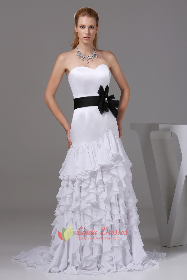 White Sweetheart Long Chiffon Ruffled Evening Dresses With Black ...