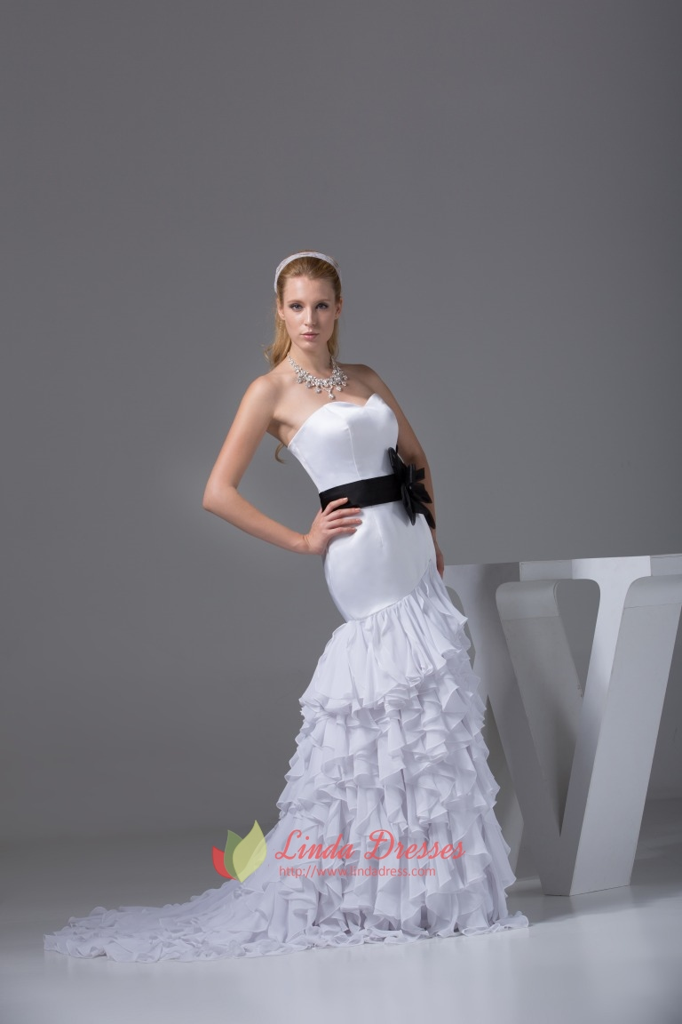 White Sweetheart Long Chiffon Ruffled Evening Dresses With