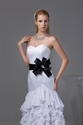 Show details for White Sweetheart Long Chiffon Ruffled Evening Dresses With Black Belt