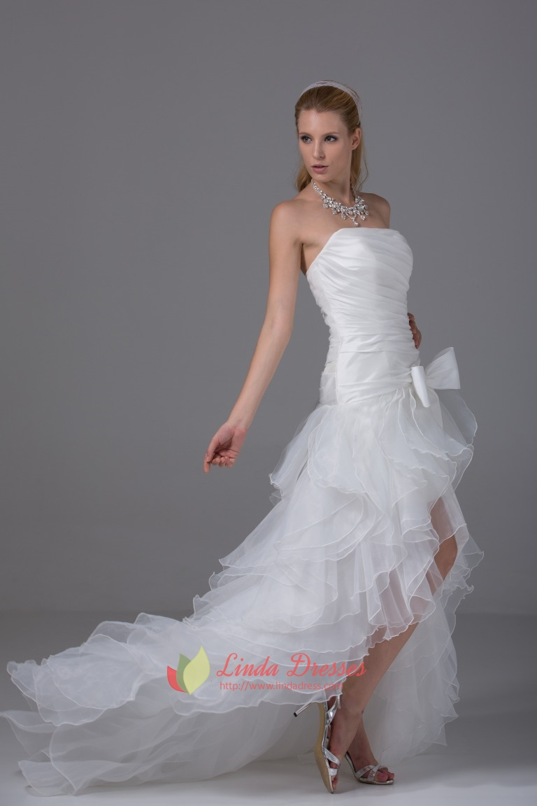 White Strapless Ruffle Layered Organza Side Split Prom
