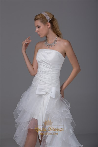 White Strapless Ruffle Layered Organza Side Split Prom Dress With Bow