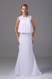 White Chiffon Scoop Neck Long Mermaid Prom Dresses With Train And Belt