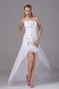 Show details for Taffeta White Homecoming Dress Pleated Strapless High Low Prom Dresses