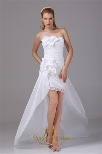 Taffeta White Homecoming Dress Pleated Strapless High Low Prom Dresses