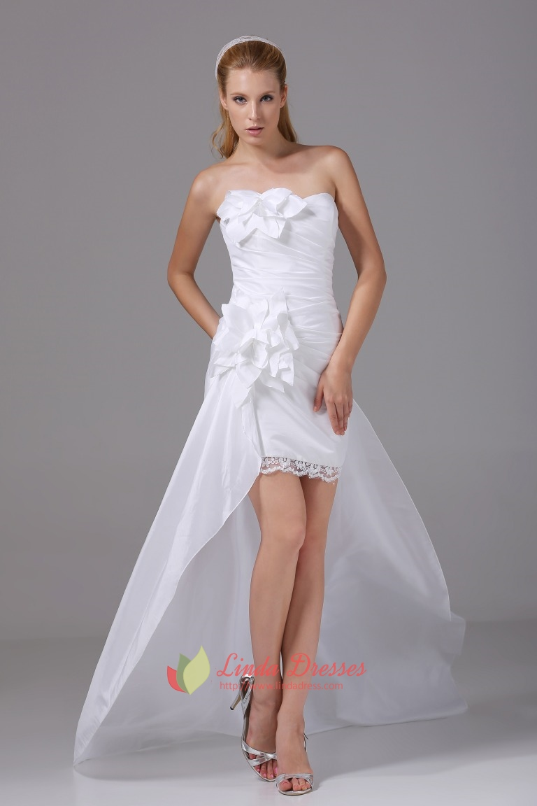 Taffeta White Homecoming Dress Pleated Strapless High Low Prom ...